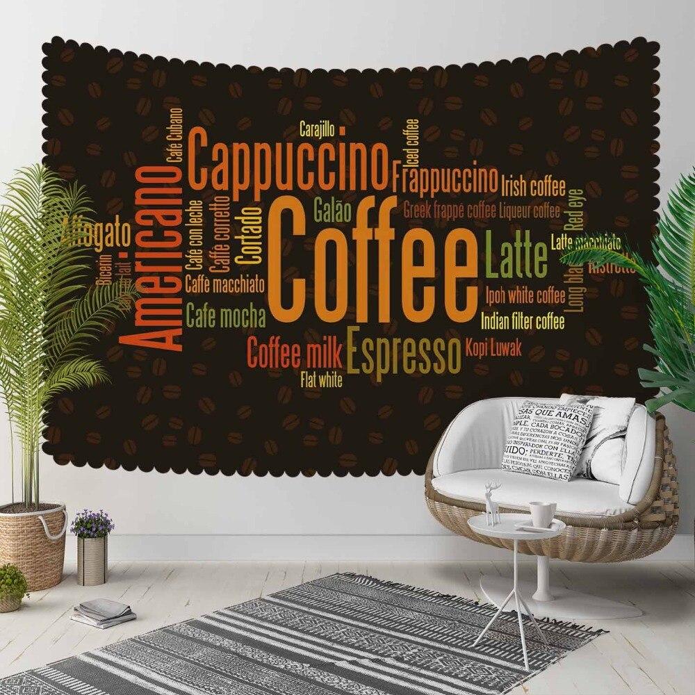 Indziej czarny piętro brązowy pomarańczowy kawy Writen fasola 3D druku dekoracyjne Hippi czeski ścianie wisi krajobrazu gobelin ściany sztuki