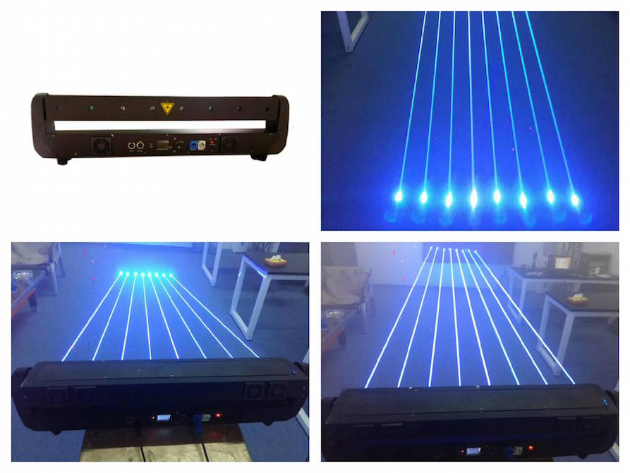 Blue Moving 8 head 1w*8 Laser Bar Curtain 8wBlue Moving 8 head 1w*8 Laser Bar Curtain 8w