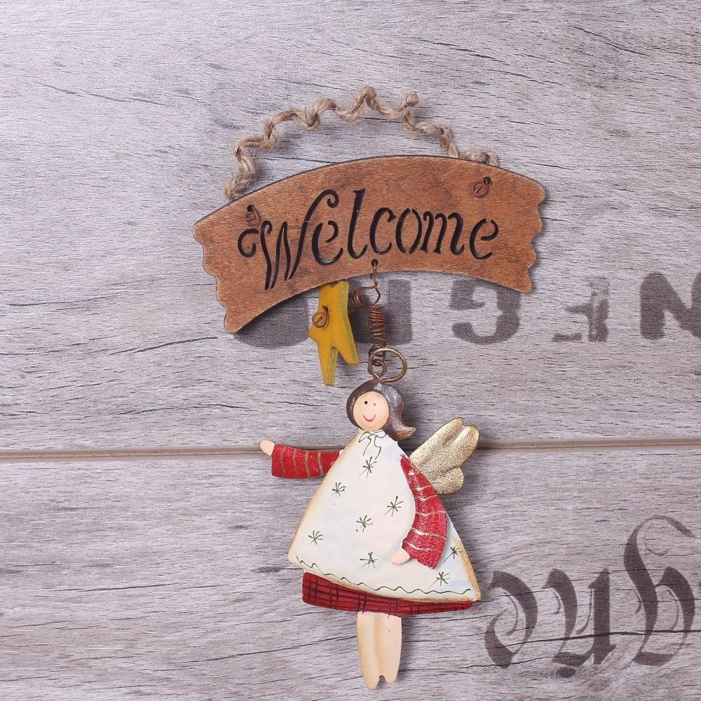 estilo vintage puerta placa colgante decoracin para el hogar retro metal nia ngel bienvenido precio barato