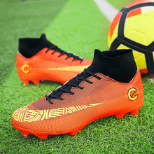 Купить с кэшбэком sufei Professional Football Boots Turf & FG Men Soccer Shoes Superfly Futsal Long Spikes Athletic Kids Cleats chuteira futebol