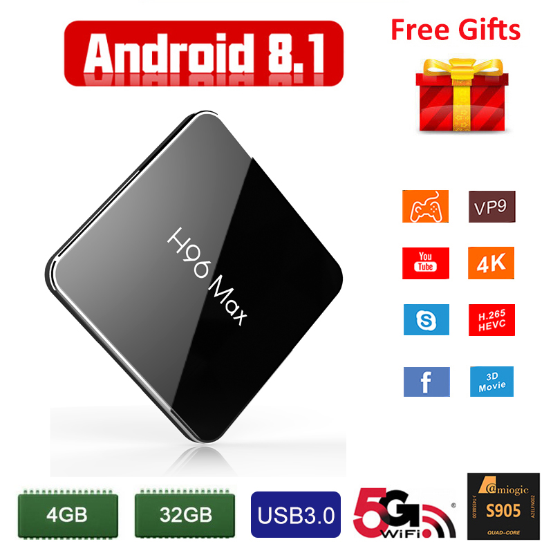 Smart TV Set Top Box Android 8.1 WiFi Bluetooth 4.0 USB 3.0 Youtube HD 4K Media Player Amlogic S905X2 4GB 32GB Spain TV Receiver