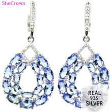Real 8.3g 925 Solid Sterling Silver Long Big Rich Blue Violet Tanzanite CZ Earrings 48x22mm