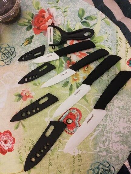 "FINDKING   Zirconia Ceramic Knife set 3"" 4"" 5"" 6"" inch+ Peeler+Covers Paring Fruit  Utility Kithchen Knife"