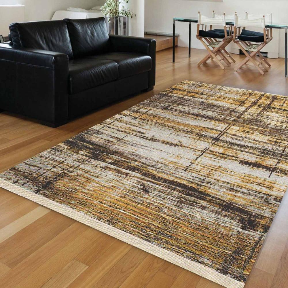 Else Brown Yellow Ethnic Turkish Vintage Retro Aging 3d Print Anti Slip Kilim Washable Decorative Area Rug Bohemian Carpet