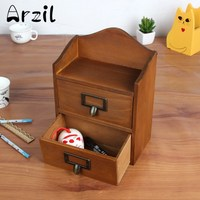 Storage Box Office Pencils Retro Wood Container Two Drawers Home Desktop Decoration Jewelry Case Cosmetic Remote