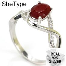 2.3g Elegant Real Red Ruby White CZ Gift For Girls 925 Solid Sterling Silver Rings 21x9mm leige jewelry ruby vintage rings ruby rings july birthstone emerald cut red stone rings real 925 sterling silver elegant rings