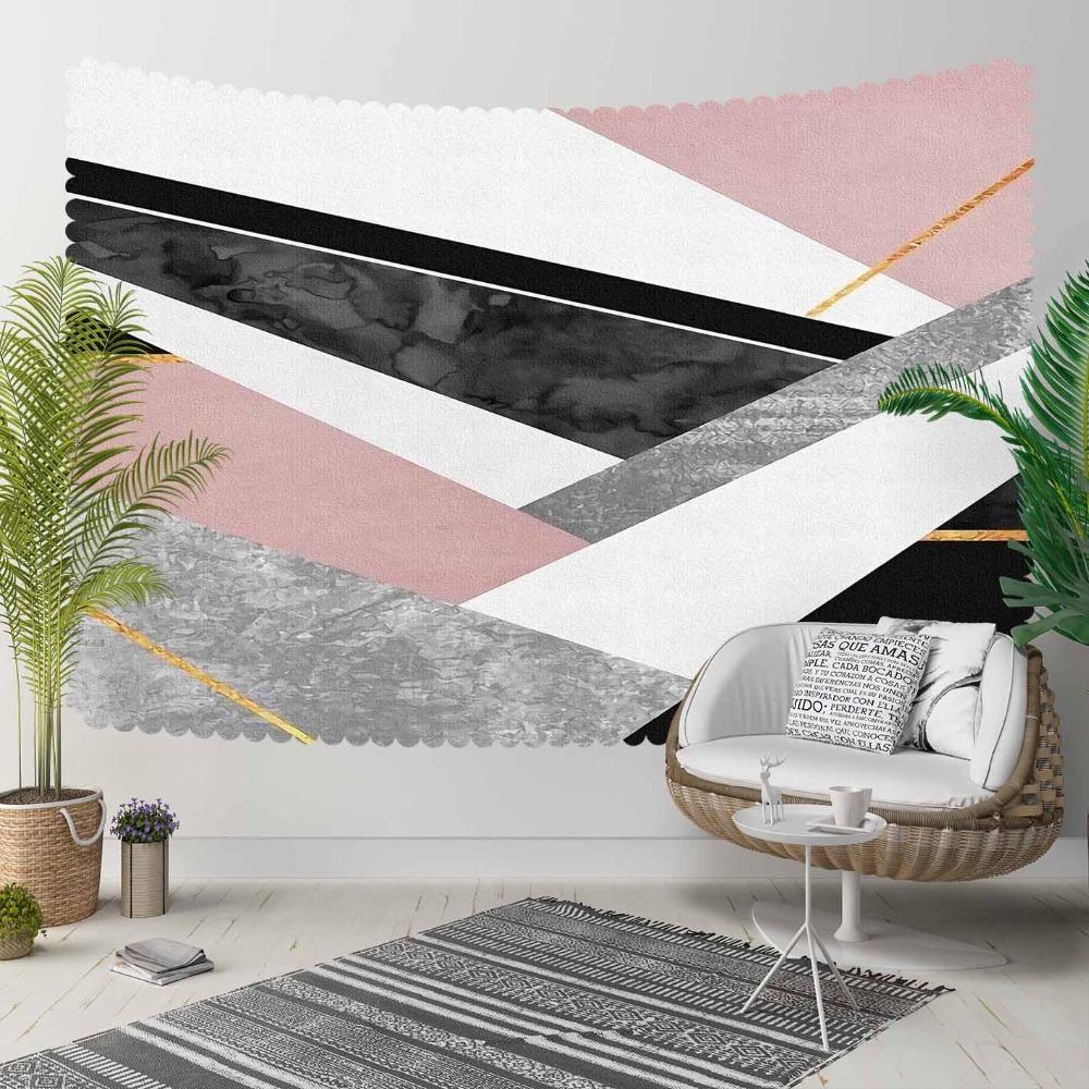 Else White Pink Black Patchwork Geometric Stripes 3D Print Decorative Hippi Bohemian Wall Hanging Landscape Tapestry Wall Art