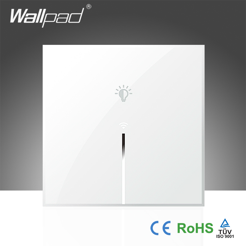 Hot Sales Wallpad White Tempered Glass UK 110~250V 1 Gang Phone Wifi  Wireless Controlled Power Wall Light Switch, Free Shipping