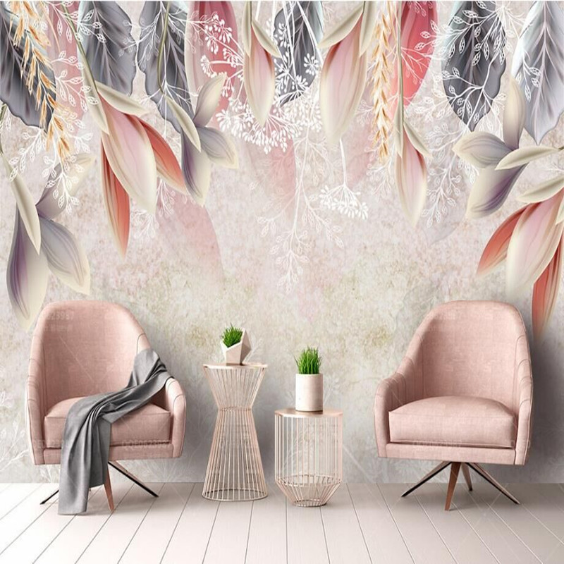 Vintage Hand-Painted Flowers Nordic Minimalist TV Sofa Bedroom Background Professional Production Wallpaper Mural Custom Photo W