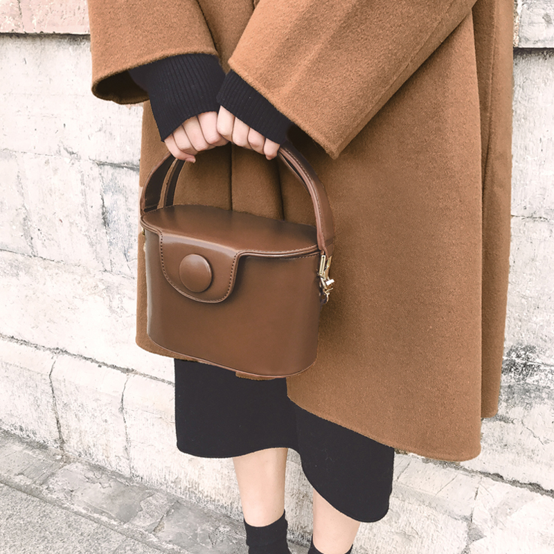 Round buckle lunch box Bucket Bag female 2018 new fashion Messenger female shoulder bag aosbos fashion portable insulated canvas lunch bag thermal food picnic lunch bags for women kids men cooler lunch box bag tote