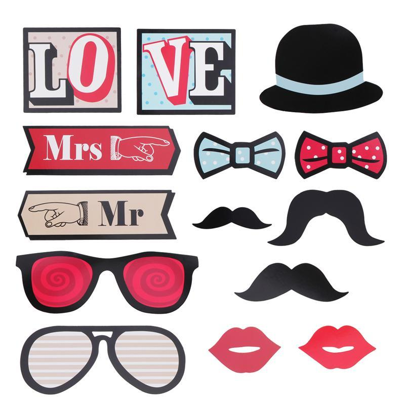 Hot Sale 14 Pcs Photo Booth Props Wedding Set Love Mr And Mrs Diy