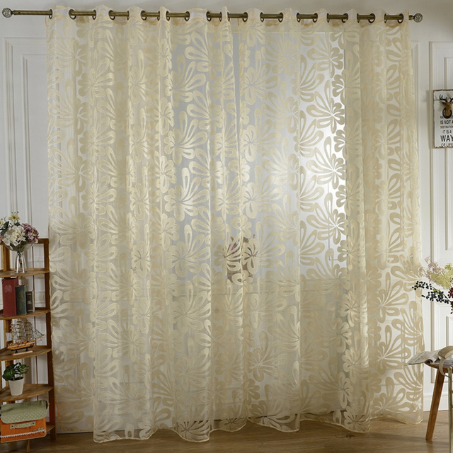 Interesting Palm Blume Tll Sheer Fenster Vorhang Jalousien Moderne  Wohnzimmer With Wohnzimmer Jalousien