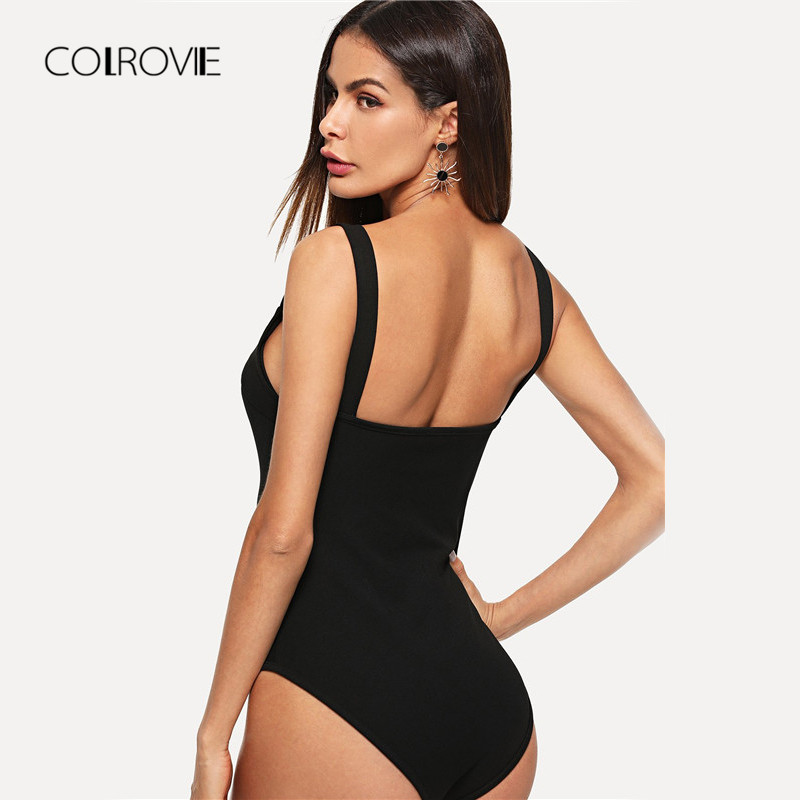 716d7c783d COLROVIE Black V Cut Front Form Fitting Strap Sexy Skinny Bodysuit 2018  Summer V Neck Sleeveless Elegant Women Bodysuits-in Bodysuits from Women s  Clothing ...