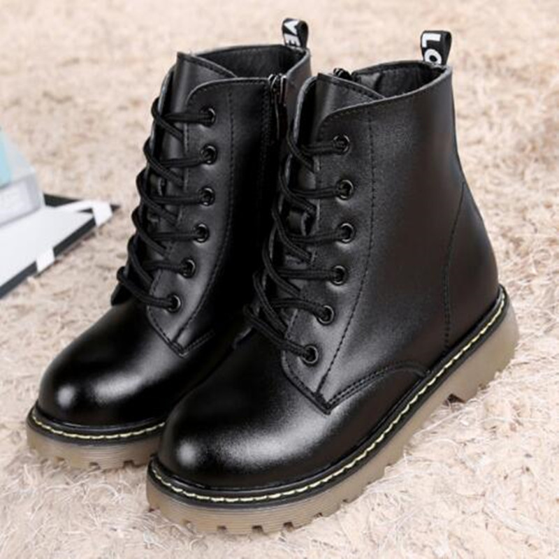 NEW spring Genuine Leather Shoes Boys Girls Martin Boots Kids Motorcycle boots Student Ankle Snow Boots Kids Shoes 044