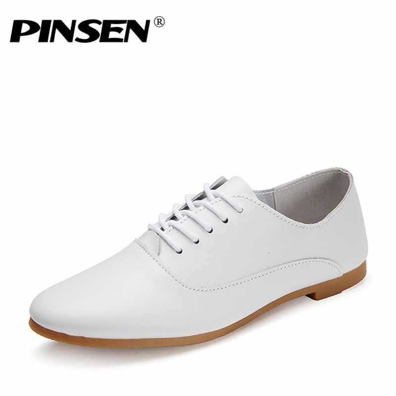 Pinsen 가을 여성 옥스포드 신발 발레리나 플랫 슈즈 여성 정품 가죽 신발 모카신 레이스 업 로퍼 화이트 슈즈 slipony