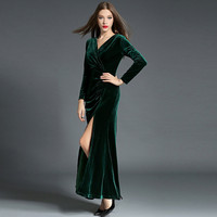 Fall Winter Velvet Long Sleeve Maxi Wrap Dresses For Women Vintage Girls Sexy V Neck Side