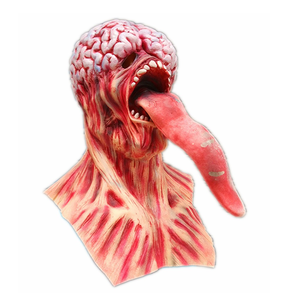 XCOSER Clearance Halloween Horrible Resident Evil Venom Long Tongue Mask Movie Cosplay Latex Scary Creepy Masks for Masquerade