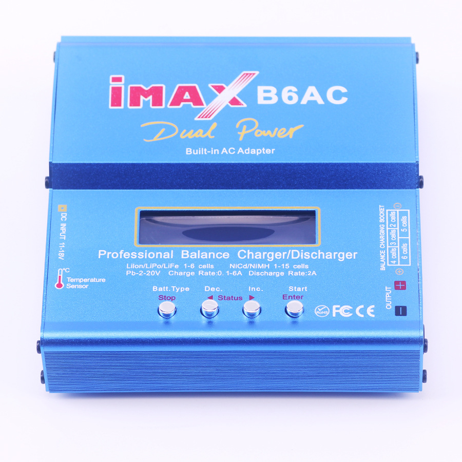 GTF IMAX B6AC RC Balance Battery Charger Nimh B6 AC 80W Nicd Lithium Battery Charger Balance Unloader + EU Digital LCD Disply