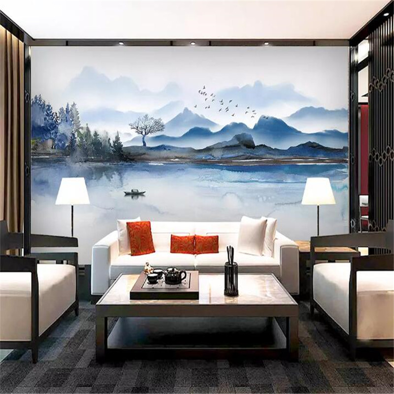 New ink landscape background wall professional production mural factory wholesale wallpaper mural poster photo wall in Fabric Textile Wallcoverings from Home Improvement