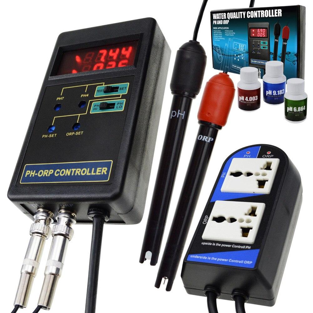 2 in 1 Digital pH & ORP Redox Controller di Monitorare la Qualità Dell'acqua Tester Elettrodo Sostituibile BNC Tipo di Sonda 14.00pH/ 1999mV