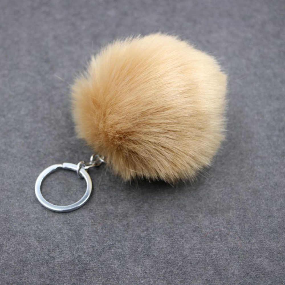1 Peça!!! New Style Faux Pele de Coelho Bola Pingente Keychain Saco Pequeno Presente 17 Cores de Ouro Fivela de Metal a Corrente Chave