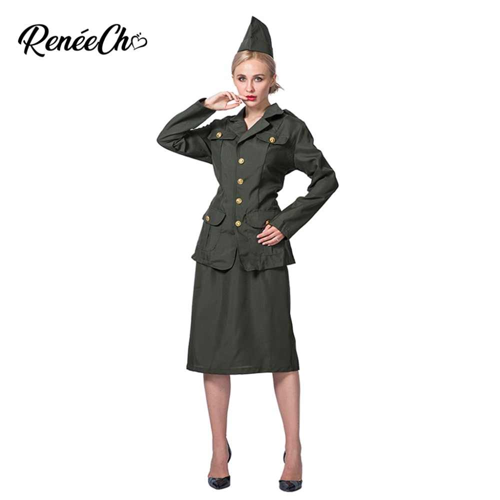 89f755fdc7d Detail Feedback Questions about Reneecho Women Costume WW2 Army Girl ...