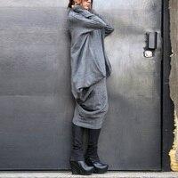 Mode Femmes Casual ZANZEA M-5XL Surdimensionné Manches Chauve-Souris Asymétrique Hem Baggy Poches Col Roulé Pull Robe Caftan