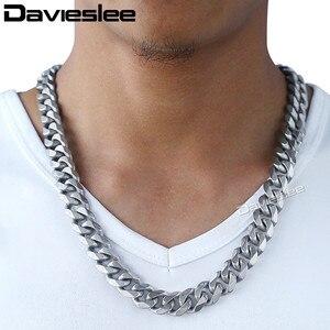 Image 5 - Daiveslee Matte Herren Halskette Armband Schmuck Set 316L Edelstahl Kette Silber Farbe Curb Cuban Link DHS42