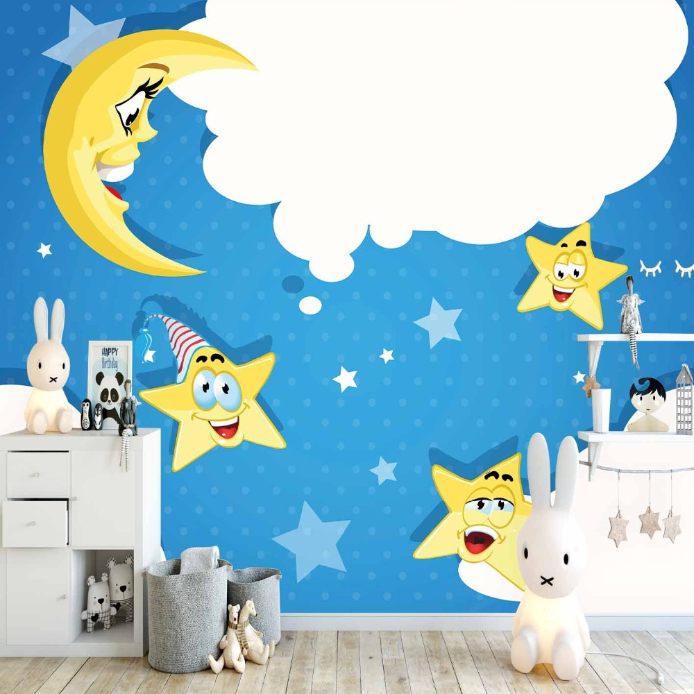 Else Blue Sky White Clouds Funny Stars Moon 3d Print Cartoon Cleanable Fabric Mural Kids Children Room Background Wallpaper