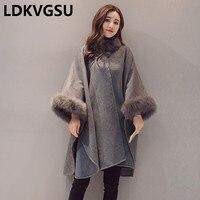 2018 Autumn Winter New Long Cloak Woolen Jacket Korean Fur Collar Loose Large Size Gray Warm Wool Overcoat Female Is479