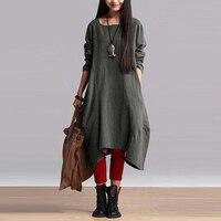 Women Fashion L 5XL Plus Size ZANZEA Baggy Round Neck Long Sleeve Irregular Hem Vintage Retro