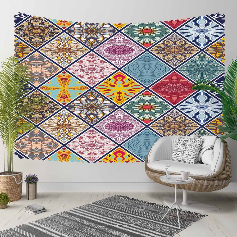 Else Colored Authentic Vintage Tiles Geometric 3D Print Decorative Hippi Bohemian Wall Hanging Landscape Tapestry Wall Art