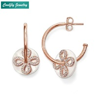 2018 Rose Gold Color Zirconia Pave Love Knot Dangle Earrings For Women Thomas Style Brand Glam