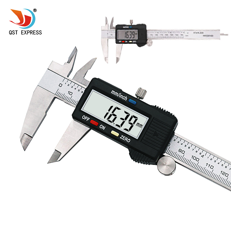 "QSTEXPRESS 6"" 150 mm Digital Vernier Caliper Micrometer Guage Widescreen Electronic Accurately Measuring Steel"