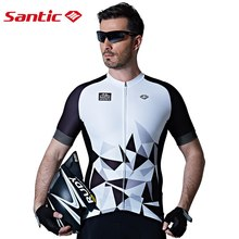 Santic Men Cycling Short Jersey Pro Fit High Elastic Fabric Reflective Cuff Road Bike Sleeve Clothings M7C02110