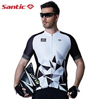 Santic Men Cycling Short Jersey Pro Fit High Elastic Fabric Reflective Cuff Road Bike Short Sleeve Cycling Clothings M7C02110