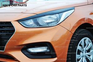 Image 5 - Augenbrauen auf scheinwerfer für Hyundai Solaris 2017 modell B breite ABS kunststoff zilien wimpern form dekoration auto styling tuning