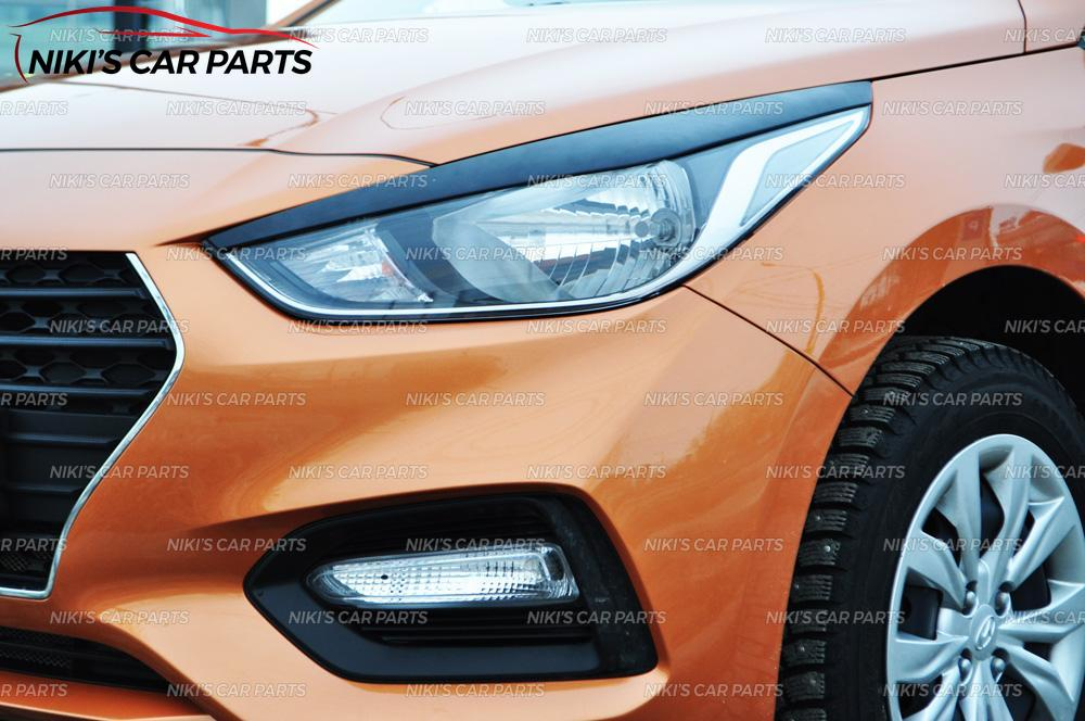 Image 5 - Eyebrows on headlights for  Hyundai Solaris 2017  model B broad ABS plastic cilia eyelash molding decoration car styling tuning-in Chromium Styling from Automobiles & Motorcycles