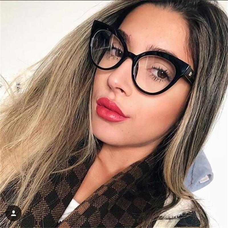 letzte auswahl von 2019 Neu werden weich und leicht US $6.48 50% OFF|Blau Katze brillen Rahmen Klare Linse Frauen Myopie Nerd  Brille Transparente Optischen Rahmen Brillen Männer Mode Brillen-in ...
