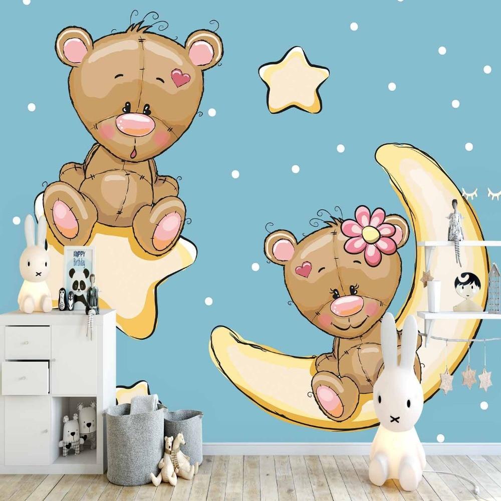 US $14 24 OFF Else Blue Floor Yellow Dot Stars Moon Teddy Bear 3d Print Cartoon Cleanable Fabric Mural Kids Children Room Background
