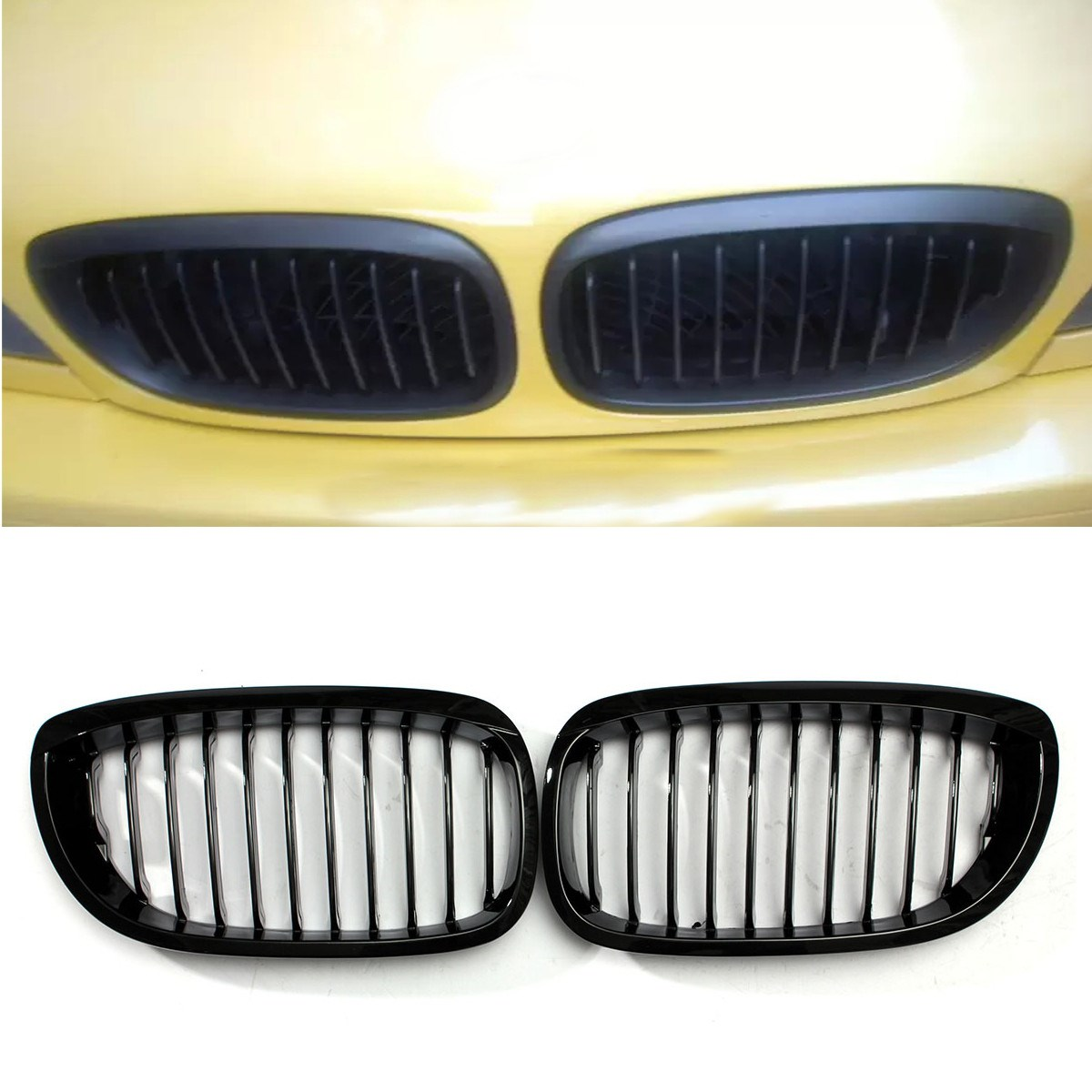 2Pcs Gloss Black Kidney Grille Grill For BMW E46 3 Series 2Dr Coupe Cabriolet 2002 2003