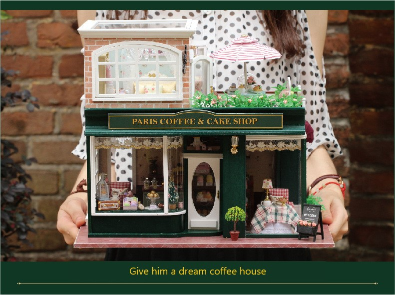 Diy house diy Coffee Shop France Tour Large Handmade Model House Valentine 39 s Day Birthday Gift in Doll Houses from Toys amp Hobbies