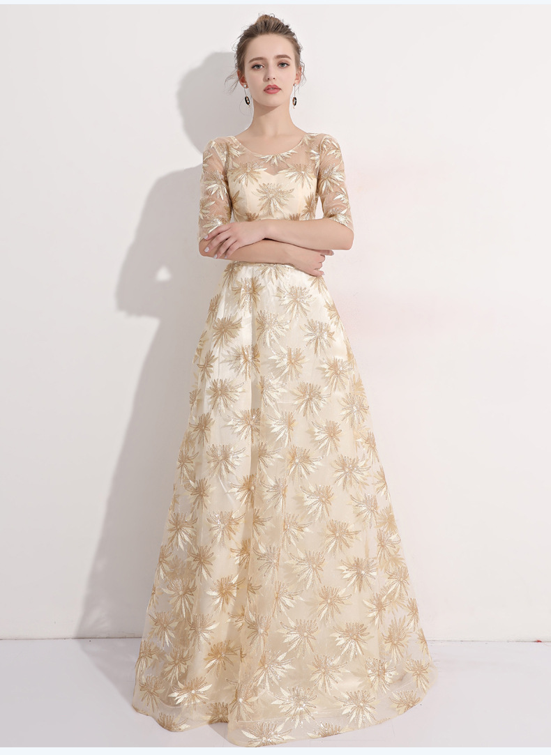 Women Vintage Formal party   Evening     Dresses   Long squins flower prom gowns 3 quarter sleeves Muslim   Evening     Dresses   2018 New