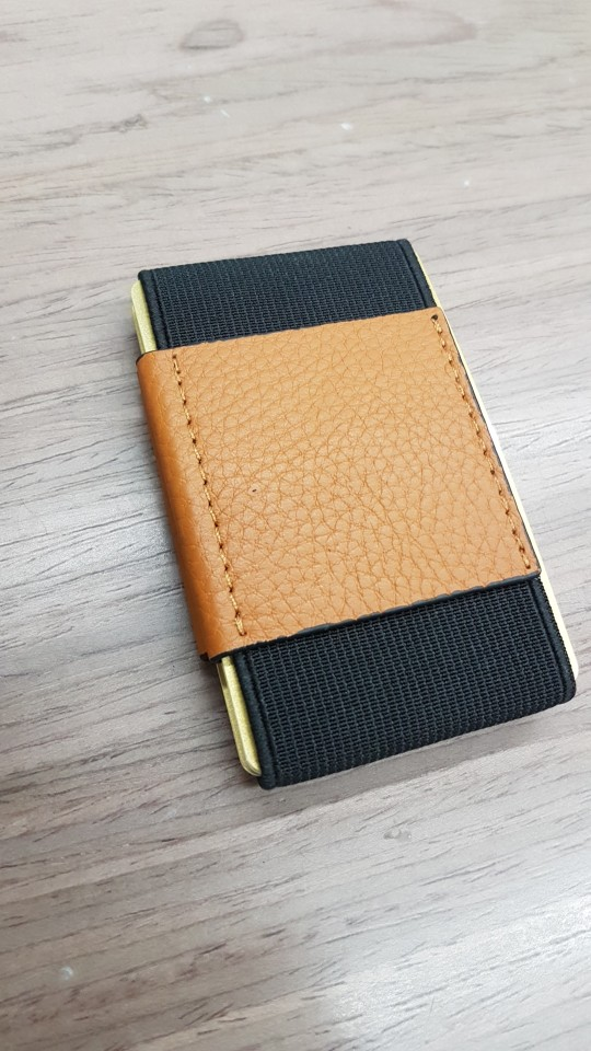 Slim Genuine Leather Wallet With Elastic Front Pocket Card Holders And Cash Business Card holder Purse Magic Id Card Case photo review