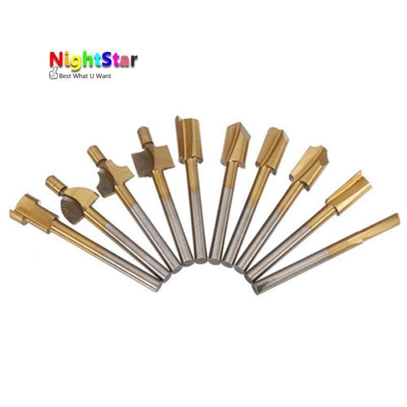 10Pcs Titanium Mini Hss Router Bits Trimmer Shank Dremel 1/8 3mm For Proxxon Dremel Rotary Tool