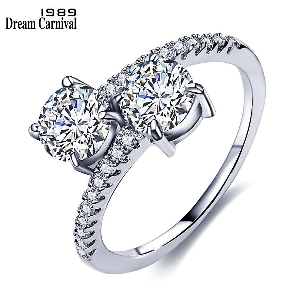 DreamCarnival 1989 Sparkling CZ Stone Wedding Rings for Women Elegant Rhodium Color Twisted Alyans Mujeres Anillos Luxury Jewels