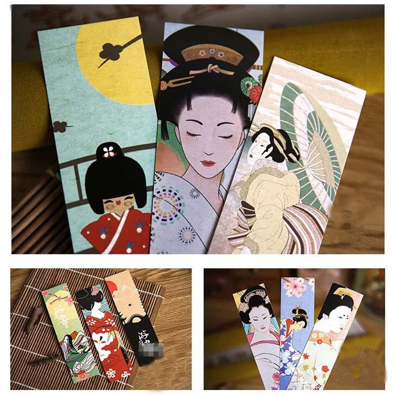 30pcs/lot Cute Kawaii Vintage Paper Bookmark Japanese Style Book Marks For Kids School Materials