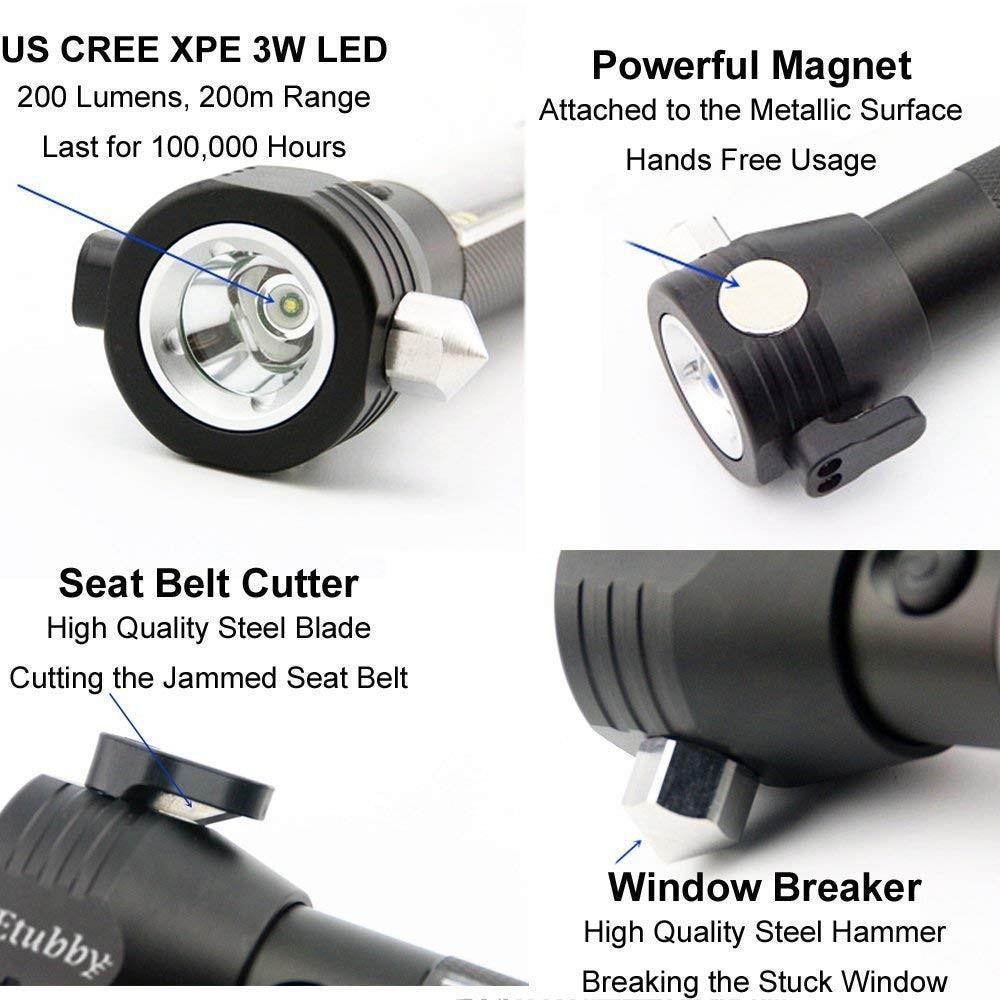 10 in1 Tactical Solar Power EDC flashlight LED w/usb Self defense