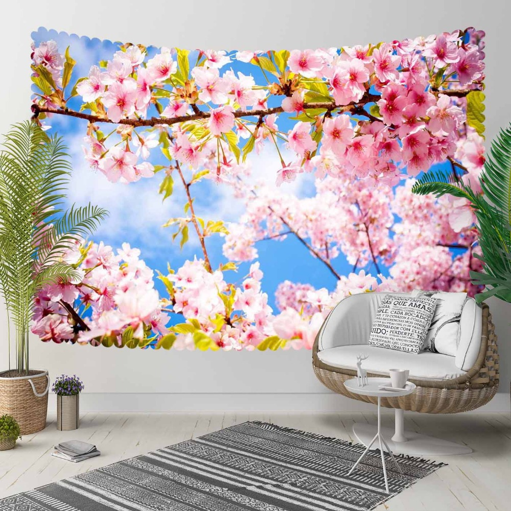 Else Blue Sky Spring Pink White Flowers Tree Branch 3D Print Decorative Hippi Bohemian Wall Hanging Landscape Tapestry Wall Art