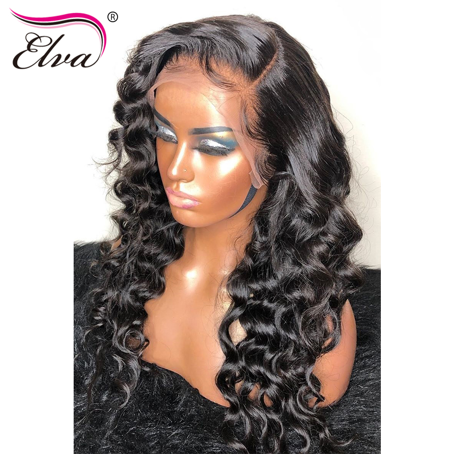 "Loose Wave 360 Lace Frontal Wig Pre Plucked With Baby Hair Brazilian Human Hair Wigs For Women Elva Remy Hair Lace Wig 10""-24""(China)"